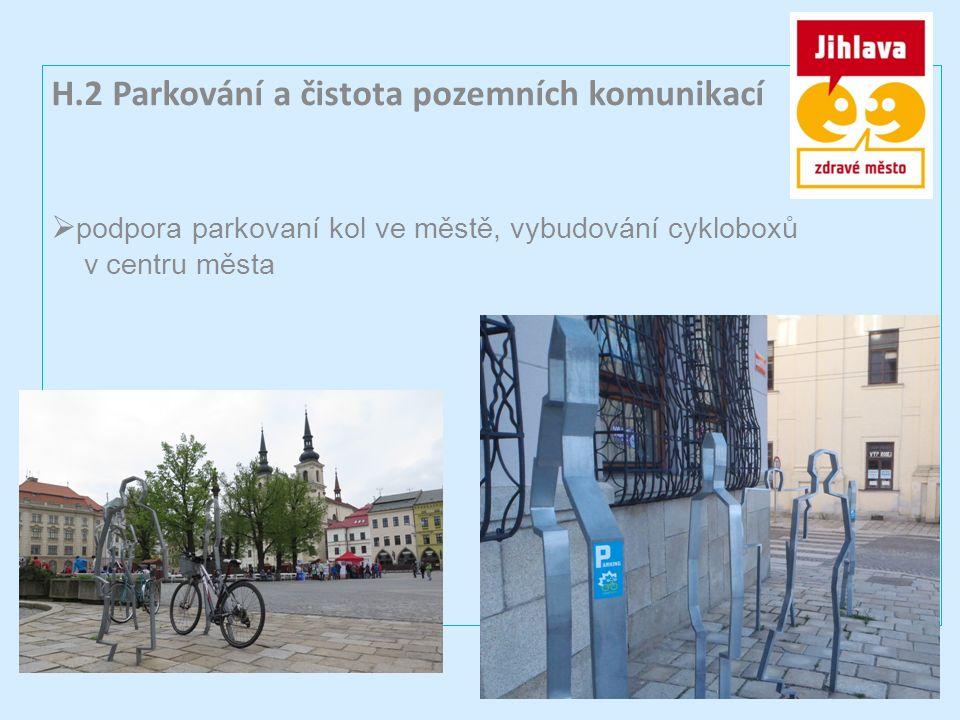 H.2 Parkování a čistota pozemních komunikací  podpora parkovaní kol ve městě, vybudování cykloboxů v centru města