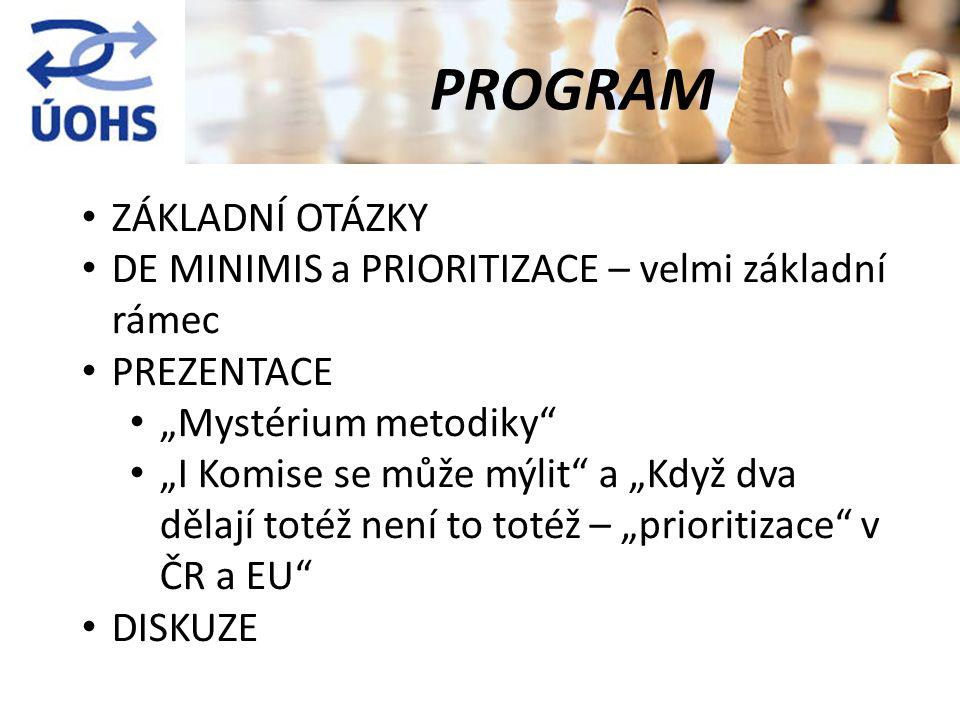 """ZÁKLADNÍ OTÁZKY DE MINIMIS a PRIORITIZACE – velmi základní rámec PREZENTACE """"Mystérium metodiky """"I Komise se může mýlit a """"Když dva dělají totéž není to totéž – """"prioritizace v ČR a EU DISKUZE PROGRAM"""