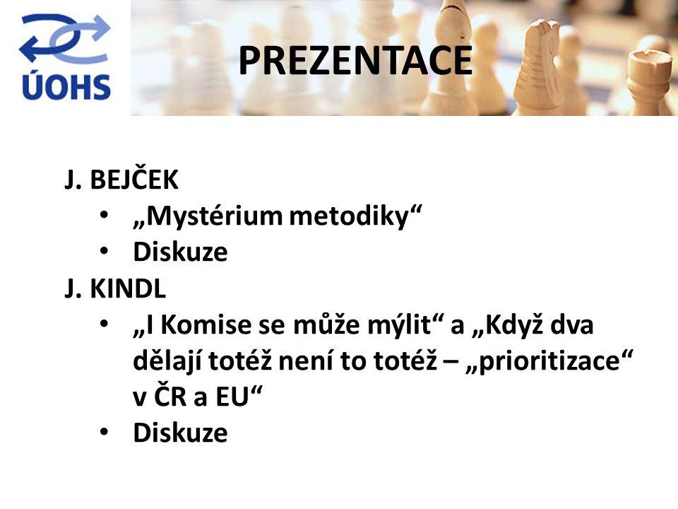 """J. BEJČEK """"Mystérium metodiky"""" Diskuze J. KINDL """"I Komise se může mýlit"""" a """"Když dva dělají totéž není to totéž – """"prioritizace"""" v ČR a EU"""" Diskuze PR"""