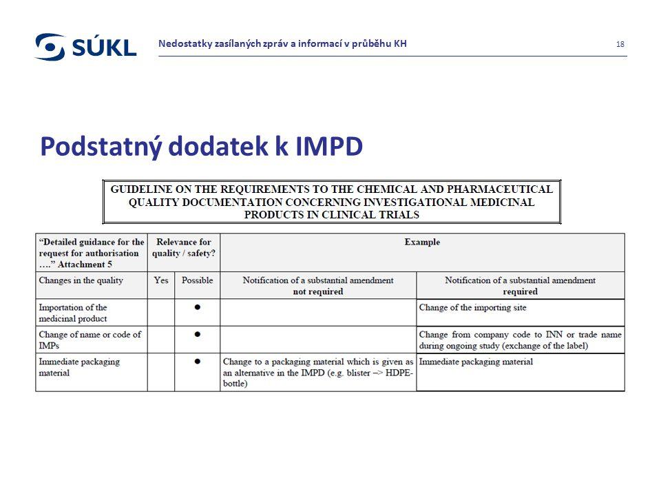 Podstatný dodatek k IMPD 18 Nedostatky zasílaných zpráv a informací v průběhu KH