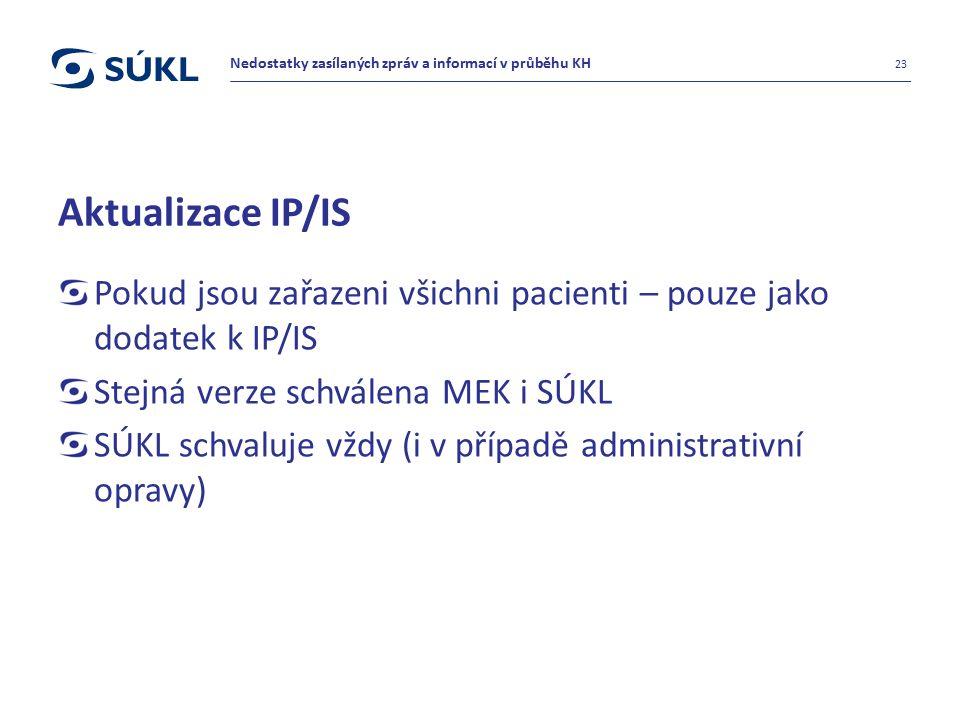 Aktualizace IP/IS Pokud jsou zařazeni všichni pacienti – pouze jako dodatek k IP/IS Stejná verze schválena MEK i SÚKL SÚKL schvaluje vždy (i v případě