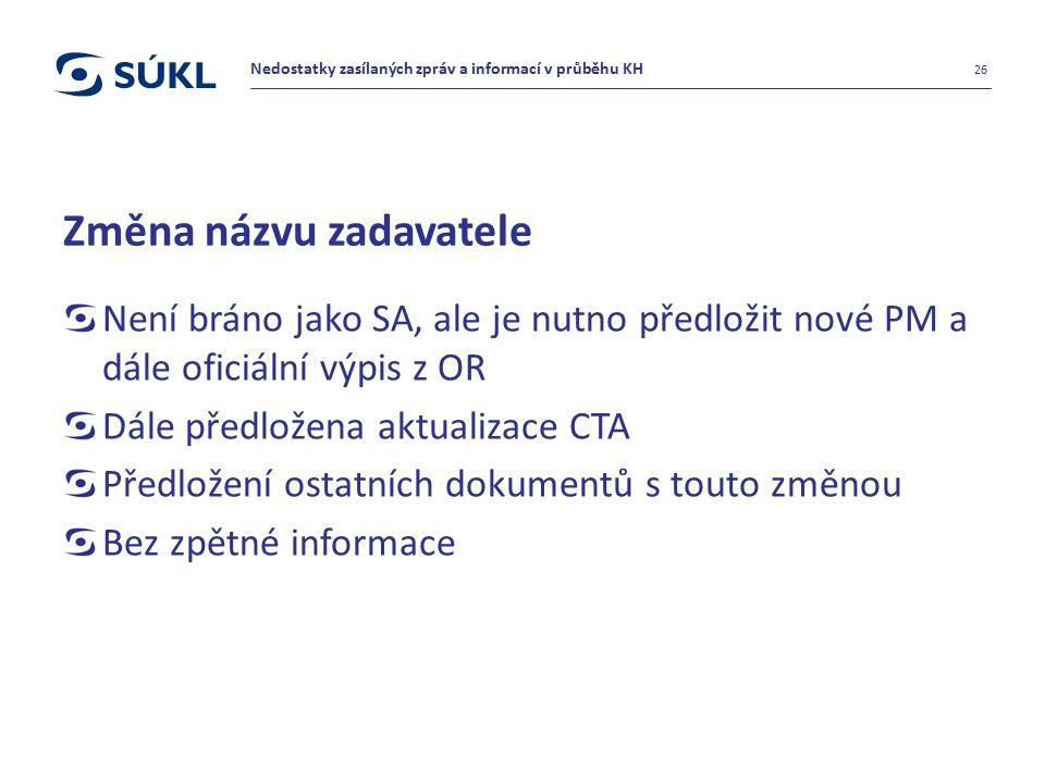 Změna názvu zadavatele Není bráno jako SA, ale je nutno předložit nové PM a dále oficiální výpis z OR Dále předložena aktualizace CTA Předložení ostat