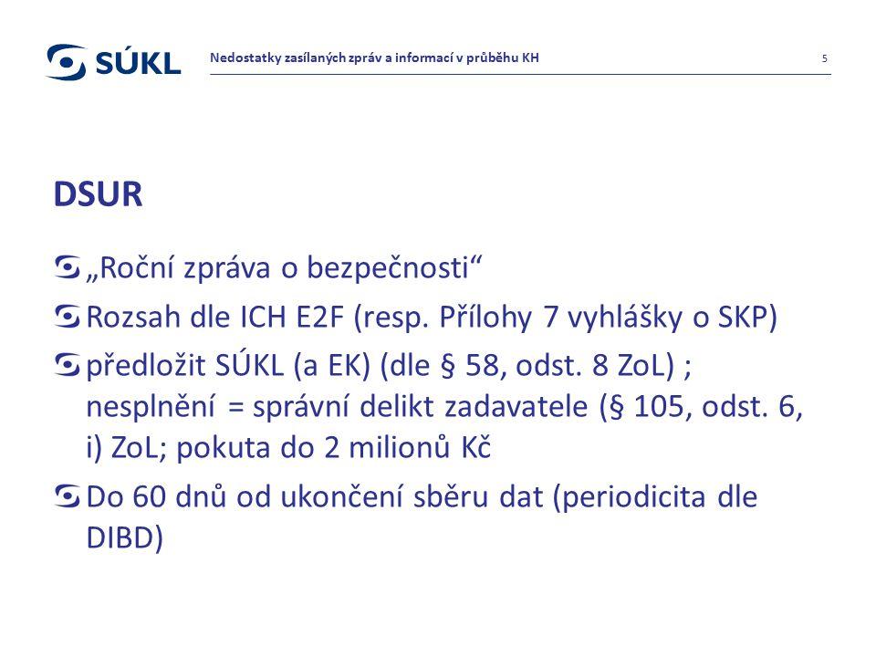 """DSUR """"Roční zpráva o bezpečnosti"""" Rozsah dle ICH E2F (resp. Přílohy 7 vyhlášky o SKP) předložit SÚKL (a EK) (dle § 58, odst. 8 ZoL) ; nesplnění = sprá"""