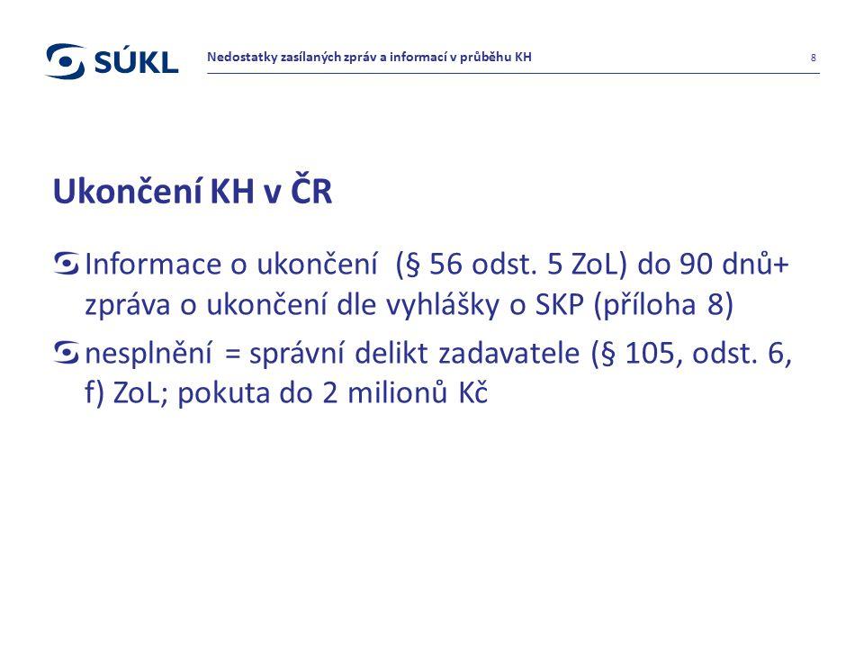 Ukončení KH v ČR Informace o ukončení (§ 56 odst. 5 ZoL) do 90 dnů+ zpráva o ukončení dle vyhlášky o SKP (příloha 8) nesplnění = správní delikt zadava