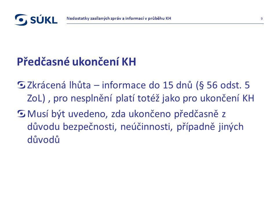 Předčasné ukončení KH Zkrácená lhůta – informace do 15 dnů (§ 56 odst. 5 ZoL), pro nesplnění platí totéž jako pro ukončení KH Musí být uvedeno, zda uk