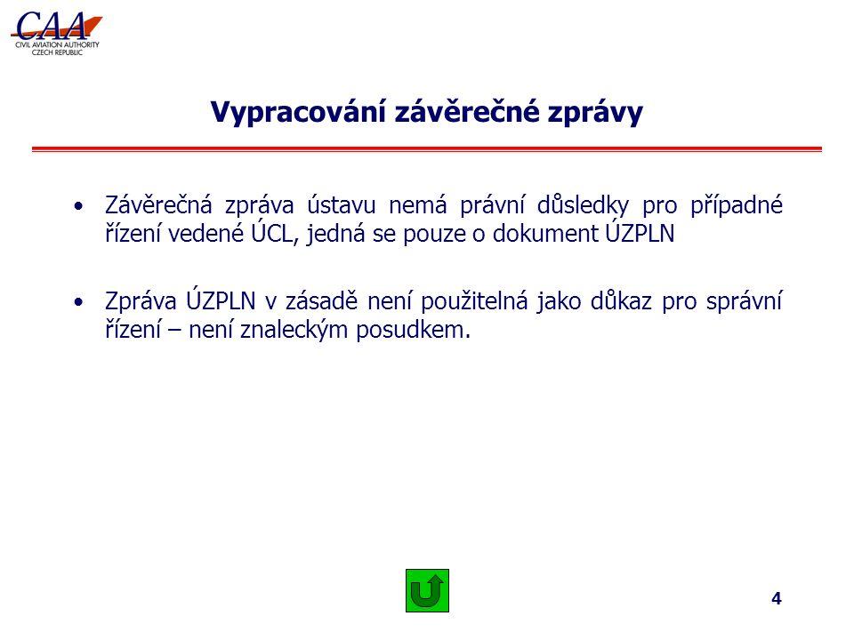 4 Vypracování závěrečné zprávy Závěrečná zpráva ústavu nemá právní důsledky pro případné řízení vedené ÚCL, jedná se pouze o dokument ÚZPLN Zpráva ÚZPLN v zásadě není použitelná jako důkaz pro správní řízení – není znaleckým posudkem.