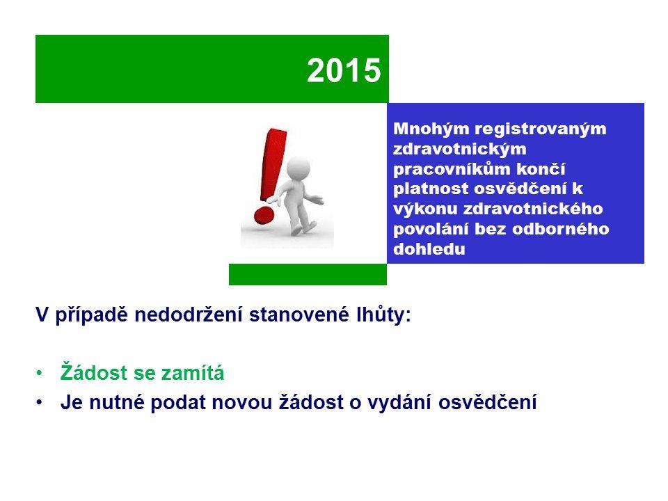 2015 V případě nedodržení stanovené lhůty: Žádost se zamítá Je nutné podat novou žádost o vydání osvědčení Mnohým registrovaným zdravotnickým pracovní