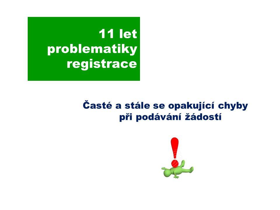 11 let problematiky registrace Časté a stále se opakující chyby při podávání žádostí