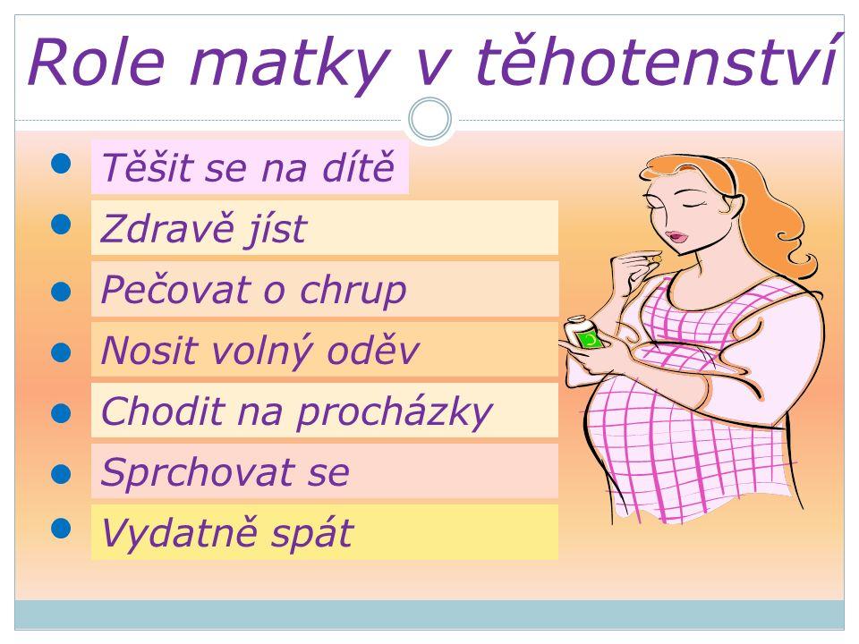 Těšit se na dítě Zdravě jíst Pečovat o chrup Nosit volný oděv Chodit na procházky Sprchovat se Vydatně spát Role matky v těhotenství