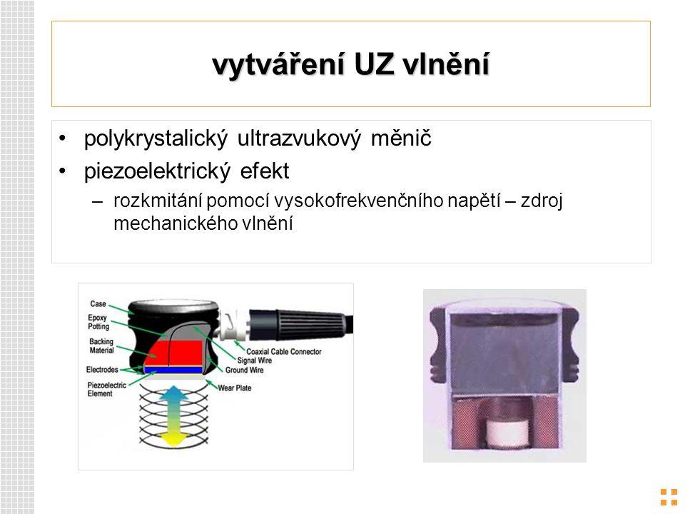 vytváření UZ vlnění polykrystalický ultrazvukový měnič piezoelektrický efekt –rozkmitání pomocí vysokofrekvenčního napětí – zdroj mechanického vlnění