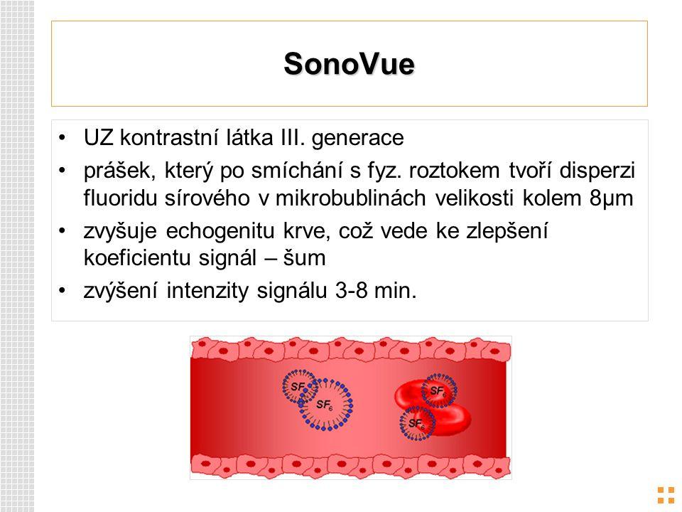 SonoVue UZ kontrastní látka III. generace prášek, který po smíchání s fyz. roztokem tvoří disperzi fluoridu sírového v mikrobublinách velikosti kolem