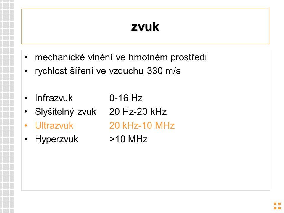 zvuk mechanické vlnění ve hmotném prostředí rychlost šíření ve vzduchu 330 m/s Infrazvuk 0-16 Hz Slyšitelný zvuk20 Hz-20 kHz Ultrazvuk 20 kHz-10 MHz H