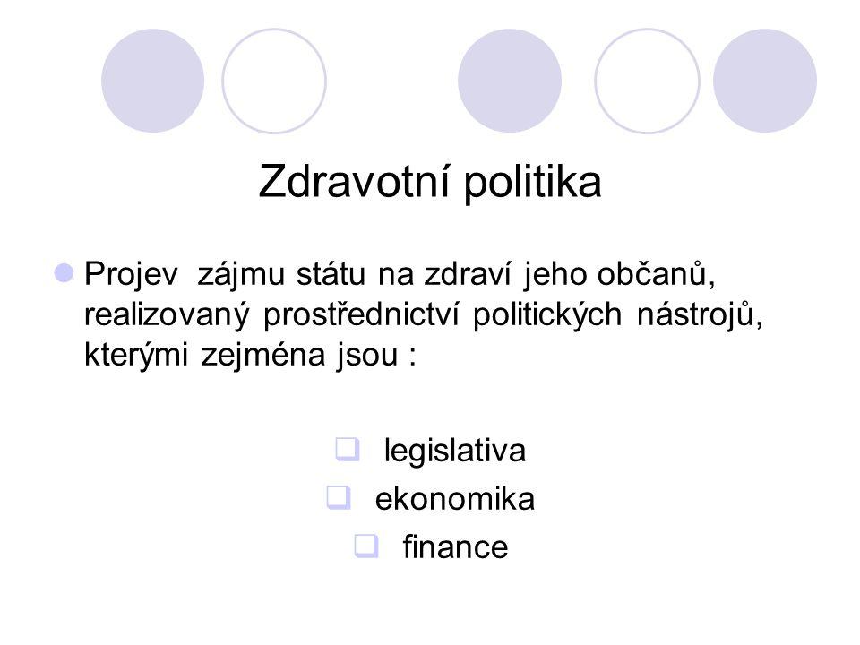 Zdravotní politika Projev zájmu státu na zdraví jeho občanů, realizovaný prostřednictví politických nástrojů, kterými zejména jsou :  legislativa  ekonomika  finance