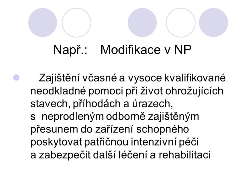 Např.:Modifikace v NP Zajištění včasné a vysoce kvalifikované neodkladné pomoci při život ohrožujících stavech, příhodách a úrazech, s neprodleným odborně zajištěným přesunem do zařízení schopného poskytovat patřičnou intenzivní péči a zabezpečit další léčení a rehabilitaci