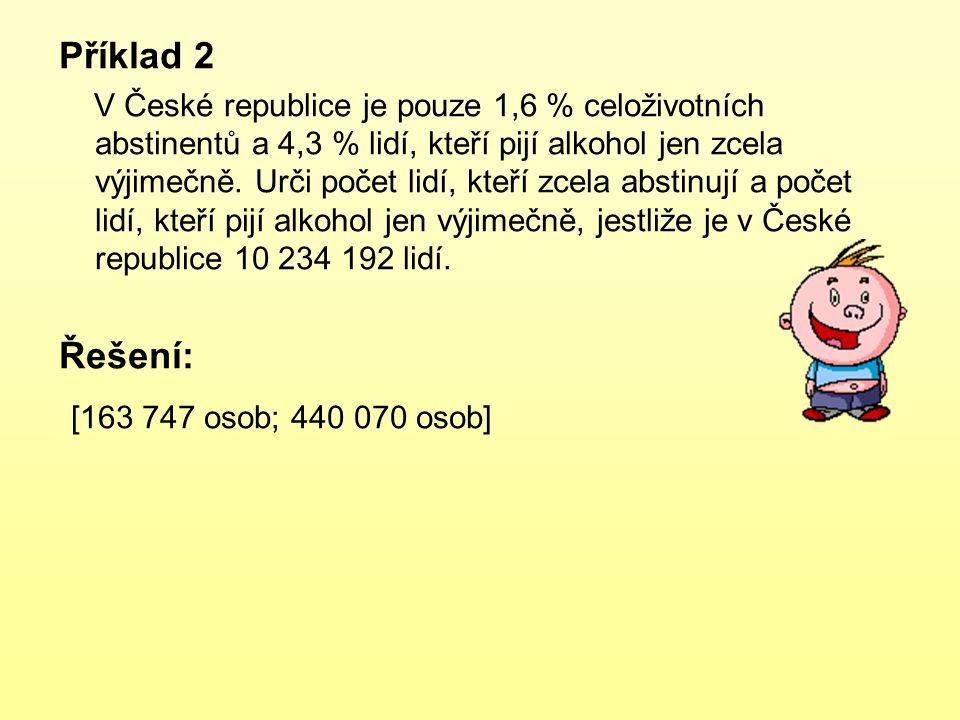 Příklad 2 V České republice je pouze 1,6 % celoživotních abstinentů a 4,3 % lidí, kteří pijí alkohol jen zcela výjimečně. Urči počet lidí, kteří zcela