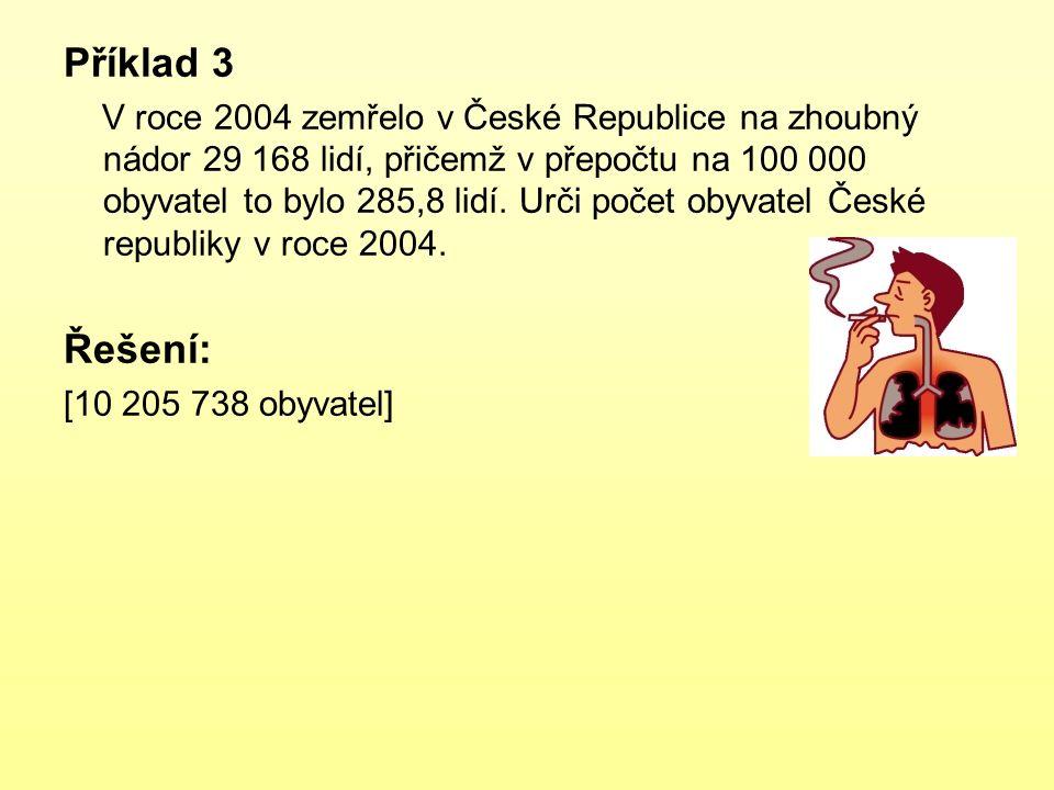 Příklad 3 V roce 2004 zemřelo v České Republice na zhoubný nádor 29 168 lidí, přičemž v přepočtu na 100 000 obyvatel to bylo 285,8 lidí. Urči počet ob