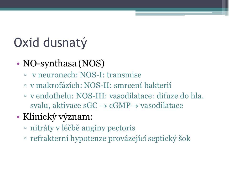 Oxid dusnatý NO-synthasa (NOS) ▫ v neuronech: NOS-I: transmise ▫v makrofázích: NOS-II: smrcení bakterií ▫v endothelu: NOS-III: vasodilatace: difuze do hla.