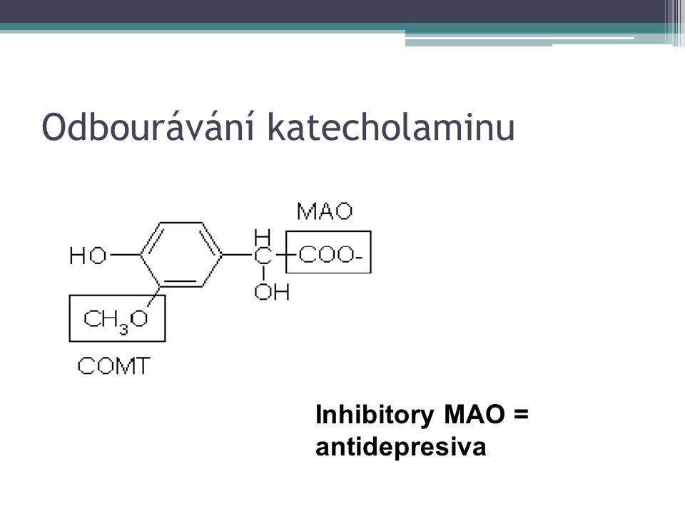 Odbourávání katecholaminu Inhibitory MAO = antidepresiva