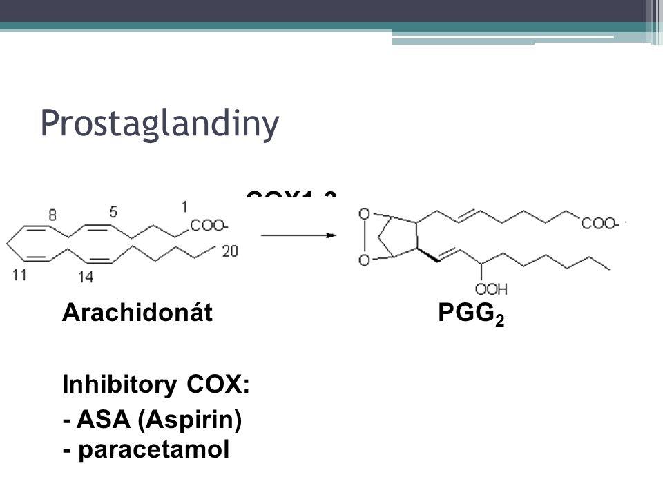 Prostaglandiny ArachidonátPGG 2 Inhibitory COX: - ASA (Aspirin) - paracetamol COX1-3