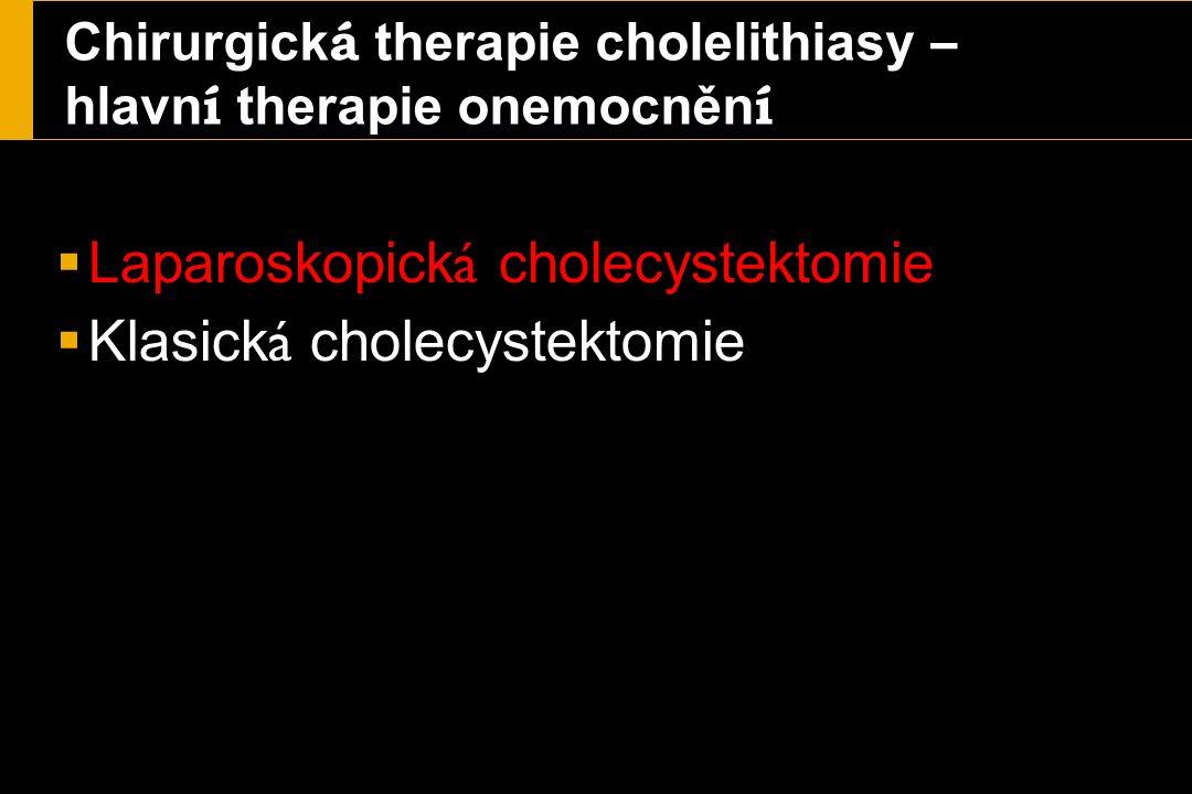 Chirurgick á therapie cholelithiasy – hlavn í therapie onemocněn í  Laparoskopick á cholecystektomie  Klasick á cholecystektomie