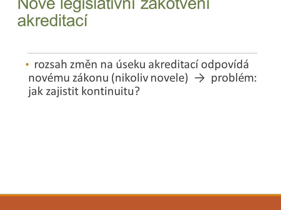 Nové legislativní zakotvení akreditací rozsah změn na úseku akreditací odpovídá novému zákonu (nikoliv novele) → problém: jak zajistit kontinuitu?