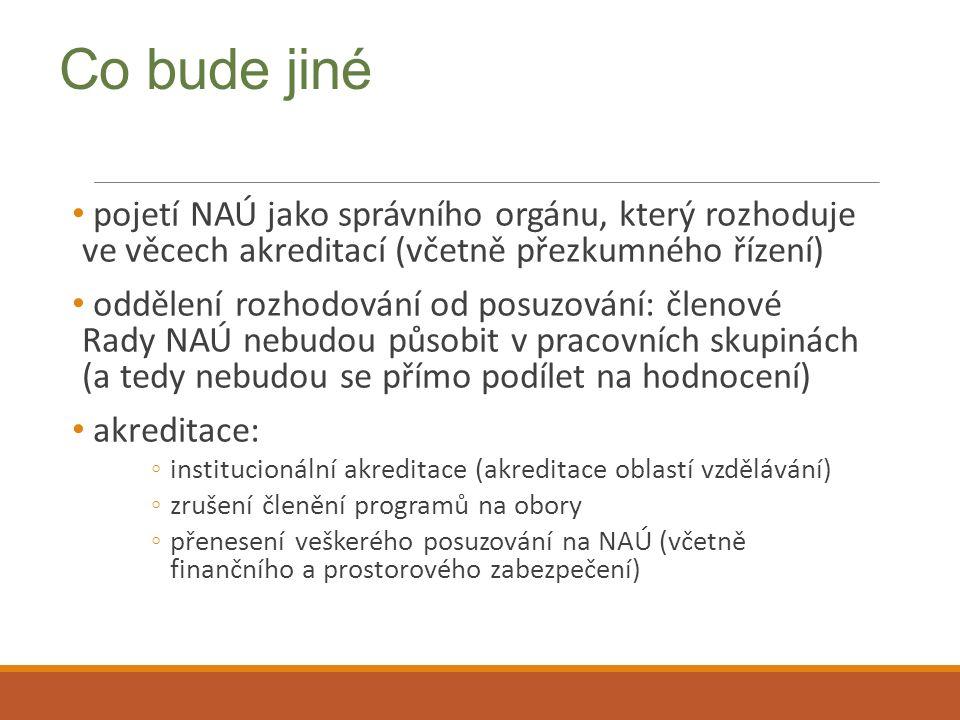 Co bude jiné pojetí NAÚ jako správního orgánu, který rozhoduje ve věcech akreditací (včetně přezkumného řízení) oddělení rozhodování od posuzování: čl