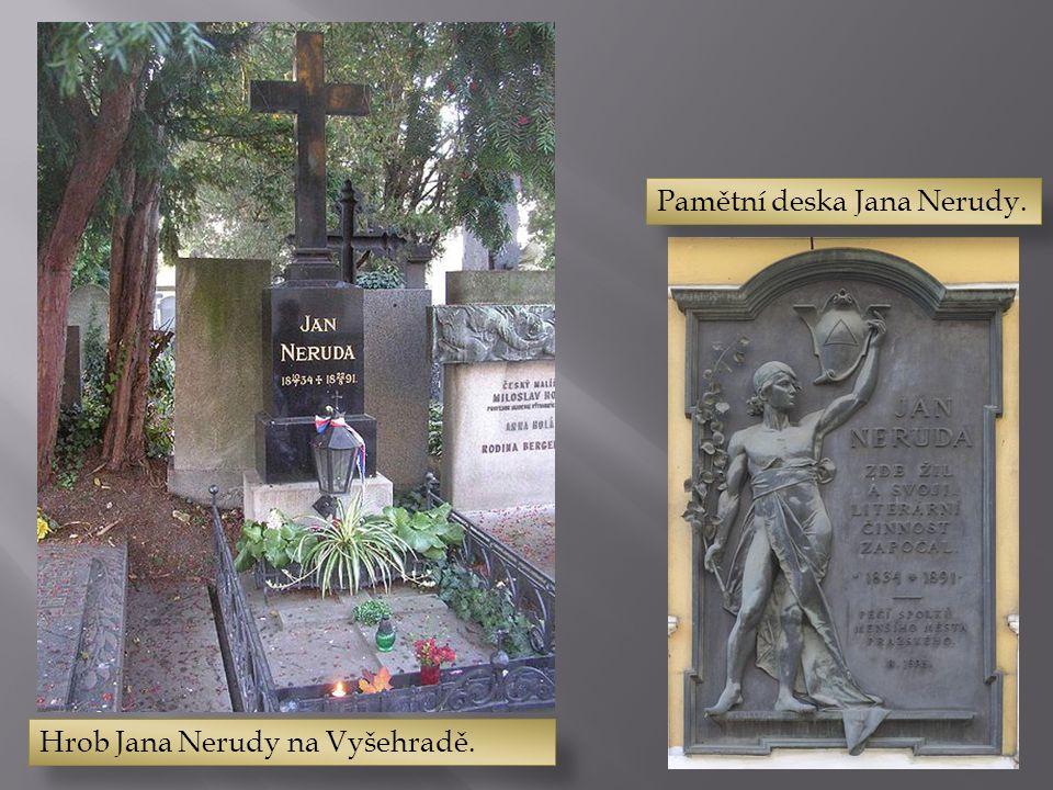 Hrob Jana Nerudy na Vyšehradě. Pamětní deska Jana Nerudy.