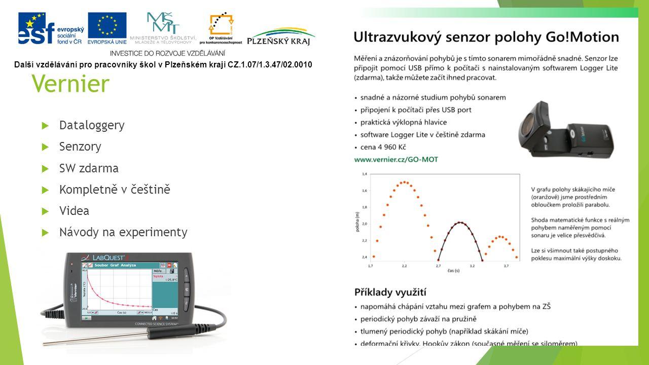 Vernier  Dataloggery  Senzory  SW zdarma  Kompletně v češtině  Videa  Návody na experimenty Další vzdělávání pro pracovníky škol v Plzeňském kraji CZ.1.07/1.3.47/02.0010