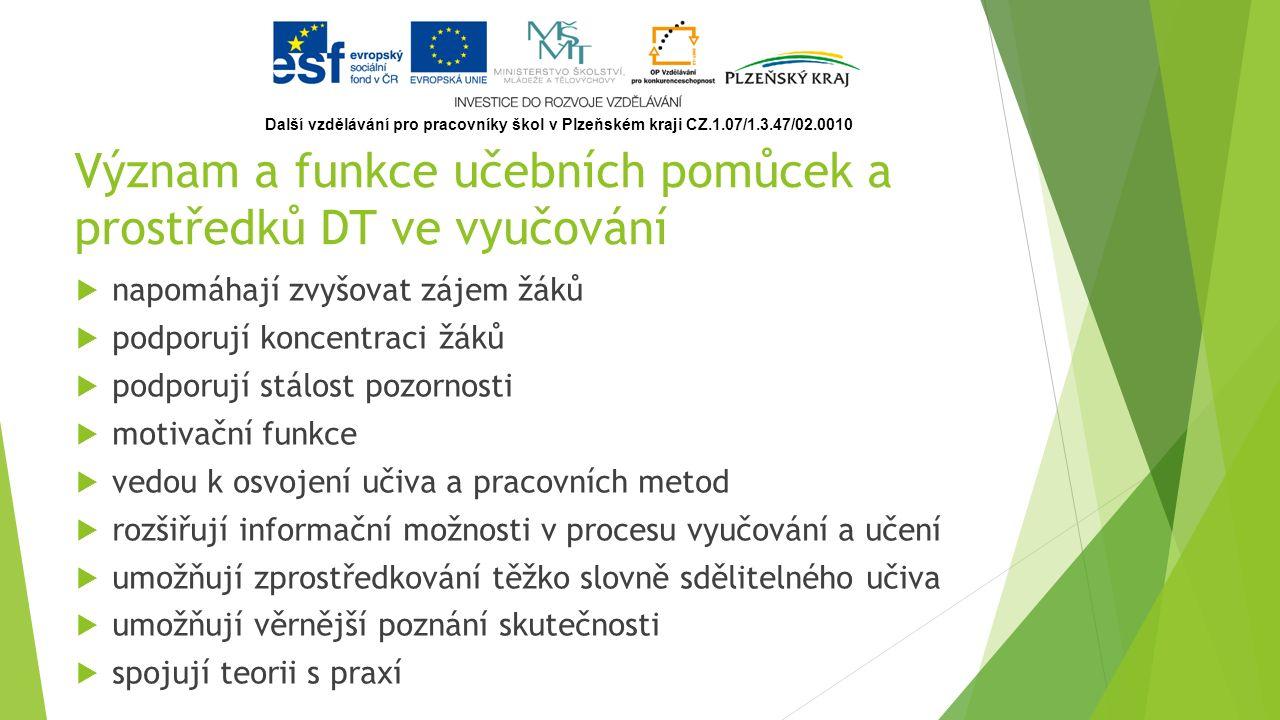 Možnosti využití počítače  výukové programy,  simulace, modelování,  multimediální programy,  informační zdroje,  testovací programy,  videokonference,  virtuální realita,  distanční formy výuky,  aj… Další vzdělávání pro pracovníky škol v Plzeňském kraji CZ.1.07/1.3.47/02.0010