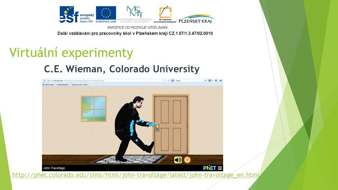 C.E. Wieman, Colorado University Virtuální experimenty http://phet.colorado.edu/sims/html/john-travoltage/latest/john-travoltage_en.html Další vzděláv