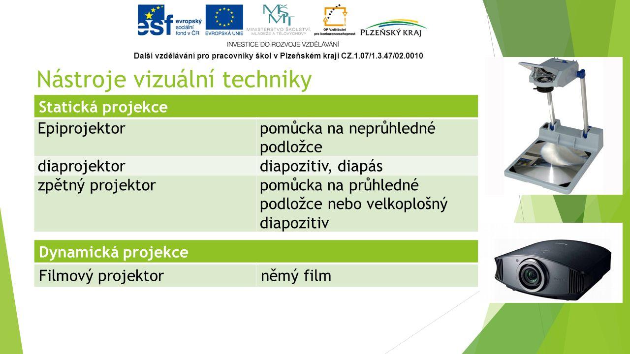 Nástroje vizuální techniky Statická projekce Epiprojektorpomůcka na neprůhledné podložce diaprojektordiapozitiv, diapás zpětný projektorpomůcka na průhledné podložce nebo velkoplošný diapozitiv Dynamická projekce Filmový projektorněmý film Další vzdělávání pro pracovníky škol v Plzeňském kraji CZ.1.07/1.3.47/02.0010