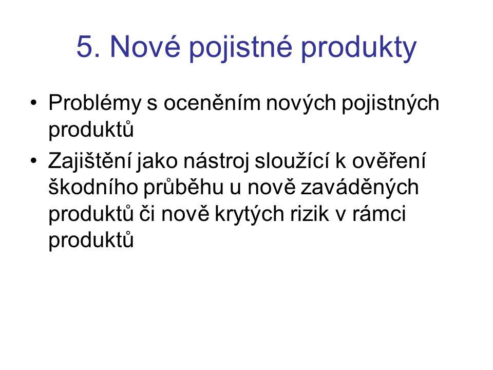5. Nové pojistné produkty Problémy s oceněním nových pojistných produktů Zajištění jako nástroj sloužící k ověření škodního průběhu u nově zaváděných