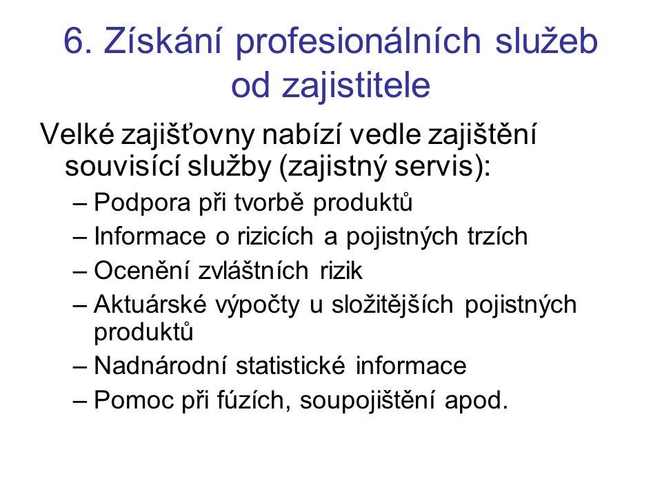 6. Získání profesionálních služeb od zajistitele Velké zajišťovny nabízí vedle zajištění souvisící služby (zajistný servis): –Podpora při tvorbě produ