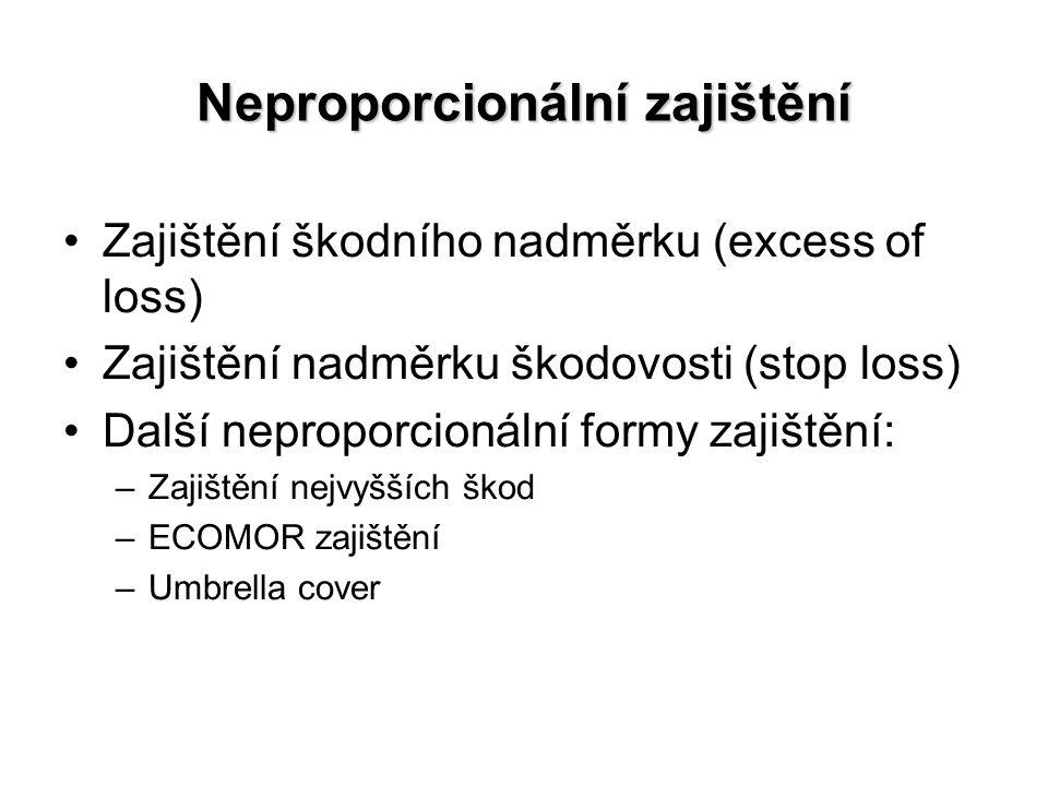Neproporcionální zajištění Zajištění škodního nadměrku (excess of loss) Zajištění nadměrku škodovosti (stop loss) Další neproporcionální formy zajištění: –Zajištění nejvyšších škod –ECOMOR zajištění –Umbrella cover