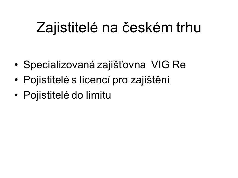 Zajistitelé na českém trhu Specializovaná zajišťovna VIG Re Pojistitelé s licencí pro zajištění Pojistitelé do limitu