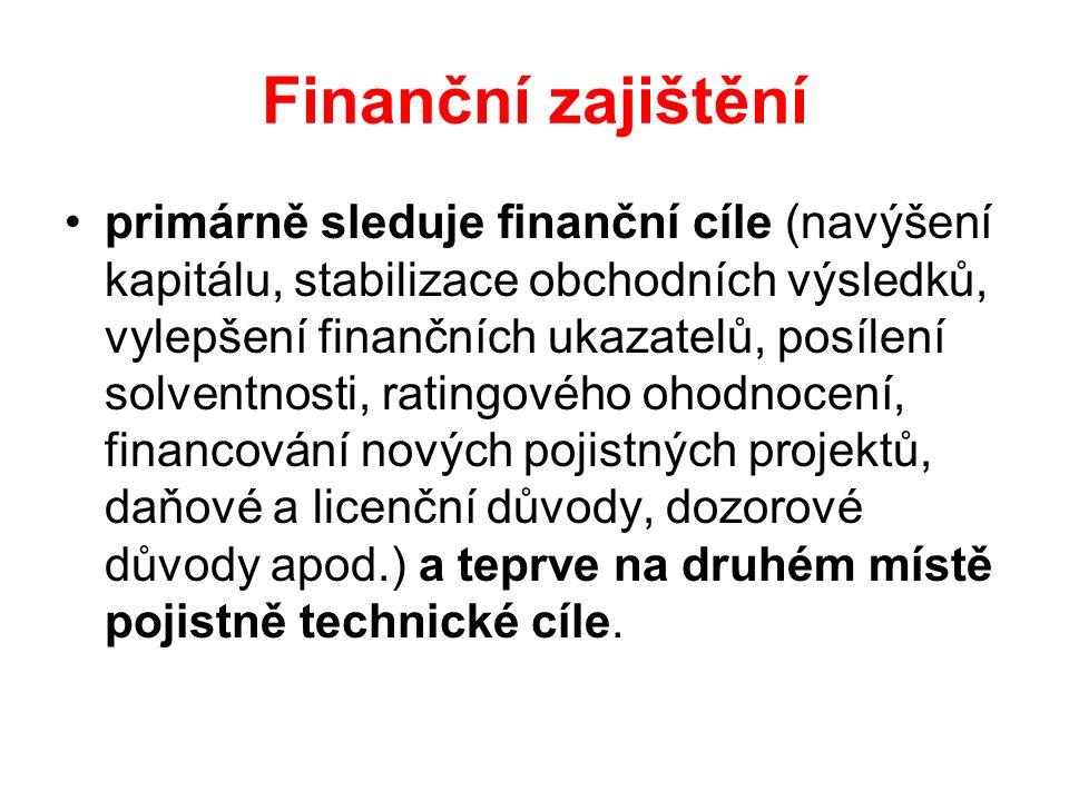 Finanční zajištění primárně sleduje finanční cíle (navýšení kapitálu, stabilizace obchodních výsledků, vylepšení finančních ukazatelů, posílení solventnosti, ratingového ohodnocení, financování nových pojistných projektů, daňové a licenční důvody, dozorové důvody apod.) a teprve na druhém místě pojistně technické cíle.