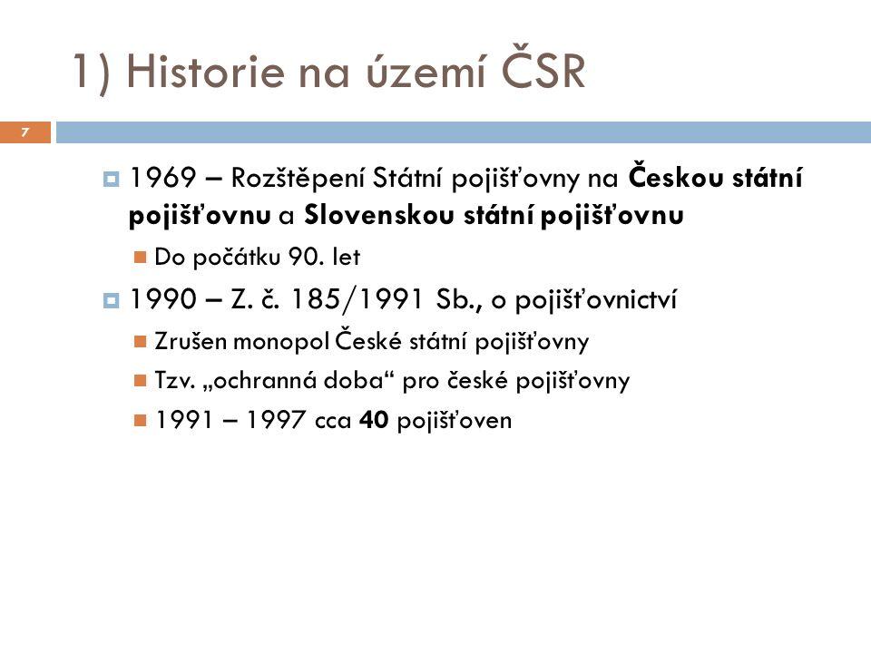 1969 – Rozštěpení Státní pojišťovny na Českou státní pojišťovnu a Slovenskou státní pojišťovnu Do počátku 90.