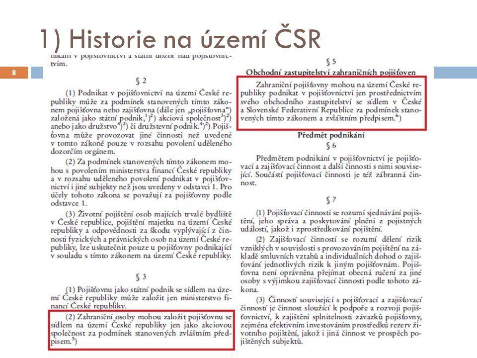 1) Historie na území ČSR 8