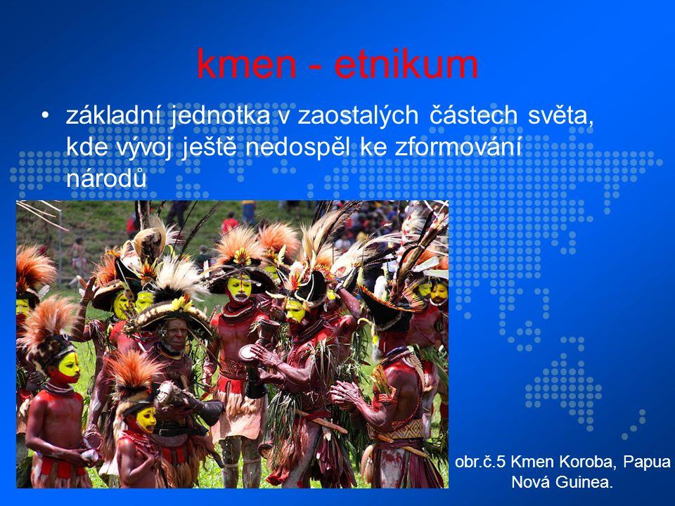 kmen - etnikum základní jednotka v zaostalých částech světa, kde vývoj ještě nedospěl ke zformování národů obr.č.5 Kmen Koroba, Papua Nová Guinea.