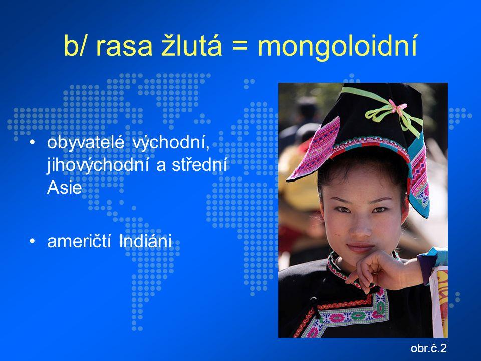 b/ rasa žlutá = mongoloidní obyvatelé východní, jihovýchodní a střední Asie američtí Indiáni obr.č.2