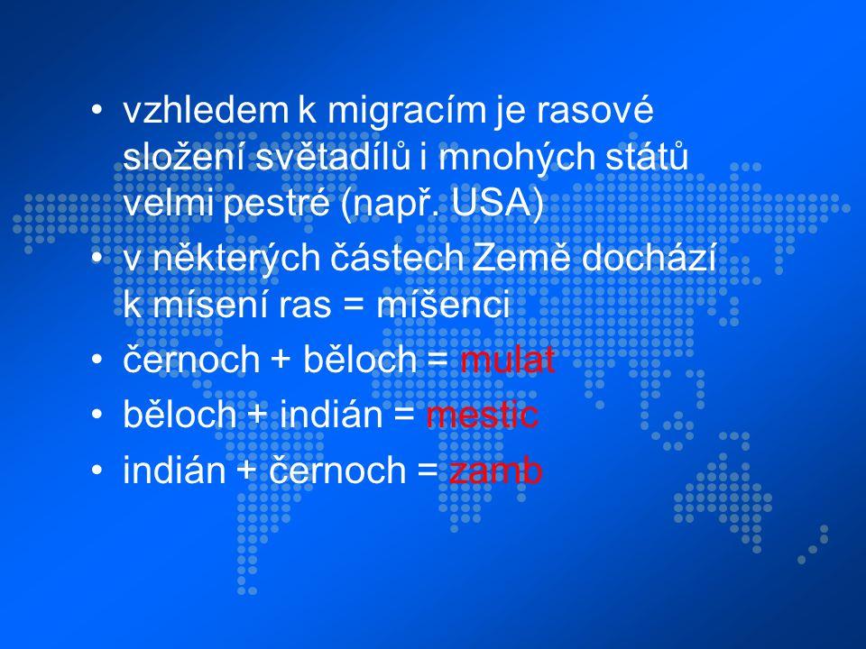 vzhledem k migracím je rasové složení světadílů i mnohých států velmi pestré (např.