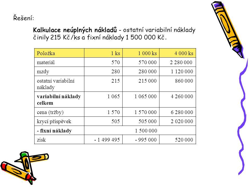 Položka1 ks1 000 ks4 000 ks materiál570570 000 2 280 000 mzdy280280 0001 120 000 ostatní variabilní náklady 215215 000860 000 variabilní náklady celke