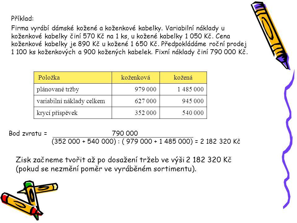 PoložkaVýrobek AVýrobek BVýrobek C plánovaný prodej 5 00012 0003 000 tržby460 000840 000300 000 variabilní náklady 360 000 708 000 243 000 Příklad: Firma vyrábí 3 druhy výrobků: výrobek A – variabilní náklady – 72 Kč výrobek B – variabilní náklady – 59 Kč výrobek C – variabilní náklady – 81 Kč Fixní náklady činí 450 000 Kč Vypočtěte bod zvratu, který je daný výši tržeb.