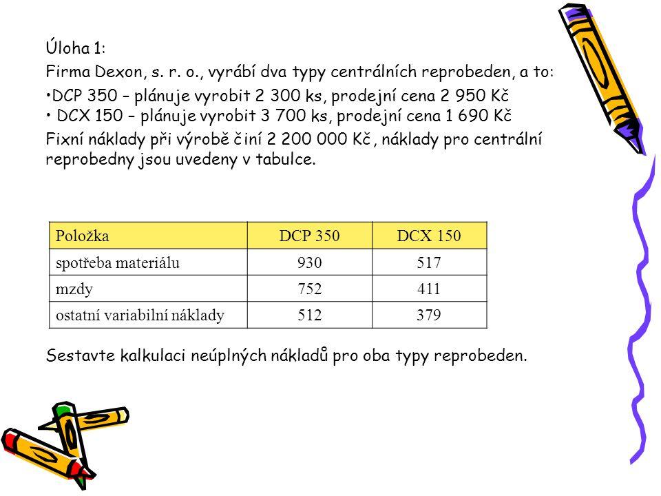 PoložkaDCP 350DCX 150 spotřeba materiálu930517 mzdy752411 ostatní variabilní náklady512379 Úloha 1: Firma Dexon, s. r. o., vyrábí dva typy centrálních
