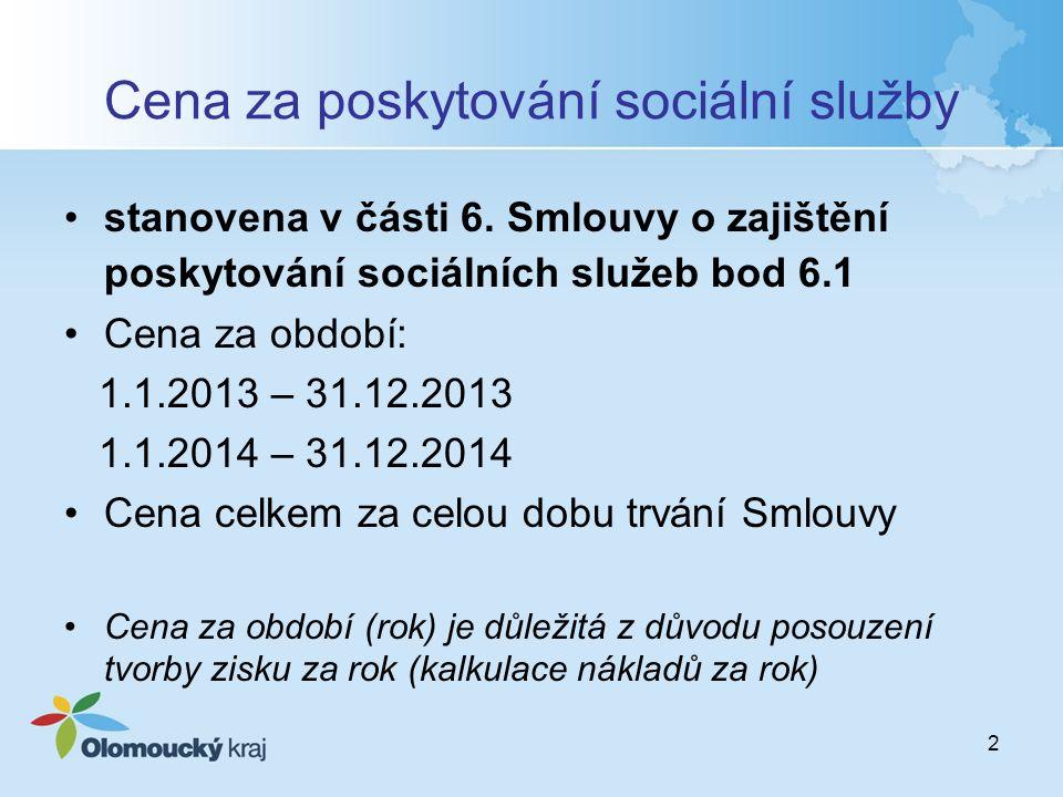 2 Cena za poskytování sociální služby stanovena v části 6. Smlouvy o zajištění poskytování sociálních služeb bod 6.1 Cena za období: 1.1.2013 – 31.12.