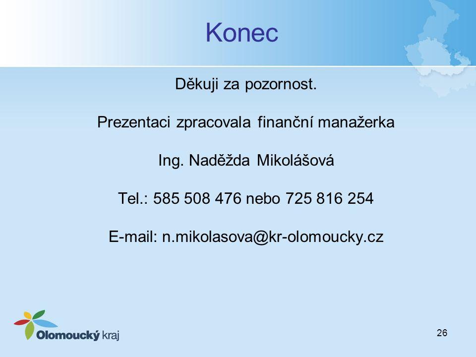 26 Konec Děkuji za pozornost. Prezentaci zpracovala finanční manažerka Ing. Naděžda Mikolášová Tel.: 585 508 476 nebo 725 816 254 E-mail: n.mikolasova