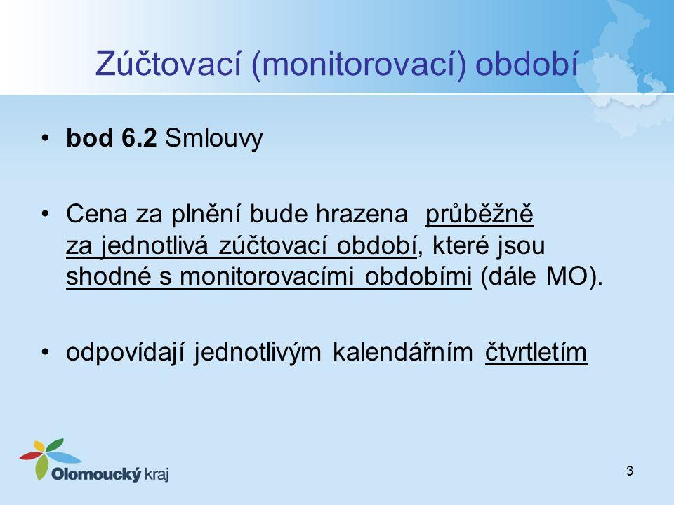 3 Zúčtovací (monitorovací) období bod 6.2 Smlouvy Cena za plnění bude hrazena průběžně za jednotlivá zúčtovací období, které jsou shodné s monitorovac