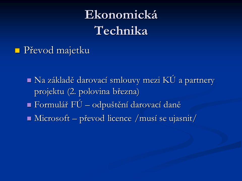 Ekonomická Technika Převod majetku Převod majetku Na základě darovací smlouvy mezi KÚ a partnery projektu (2.