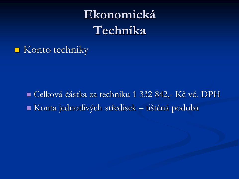 Ekonomická Technika Konto techniky Konto techniky Celková částka za techniku 1 332 842,- Kč vč.