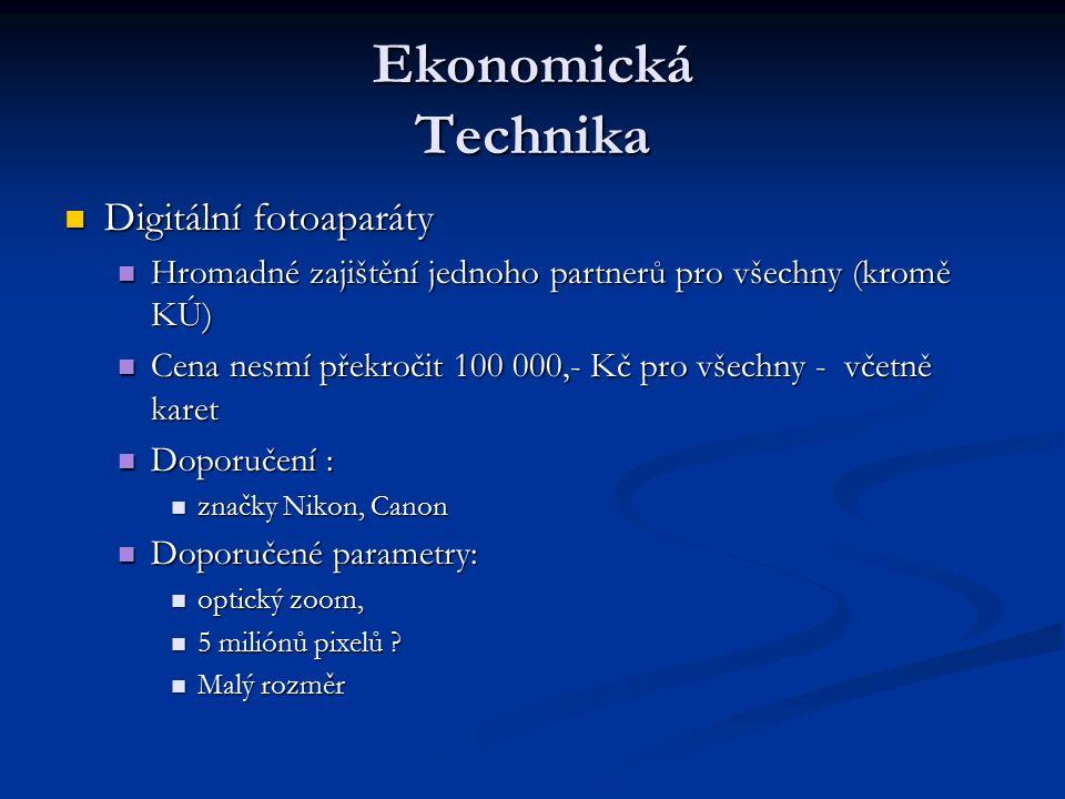 Ekonomická Technika Digitální fotoaparáty Digitální fotoaparáty Hromadné zajištění jednoho partnerů pro všechny (kromě KÚ) Hromadné zajištění jednoho partnerů pro všechny (kromě KÚ) Cena nesmí překročit 100 000,- Kč pro všechny - včetně karet Cena nesmí překročit 100 000,- Kč pro všechny - včetně karet Doporučení : Doporučení : značky Nikon, Canon značky Nikon, Canon Doporučené parametry: Doporučené parametry: optický zoom, optický zoom, 5 miliónů pixelů .